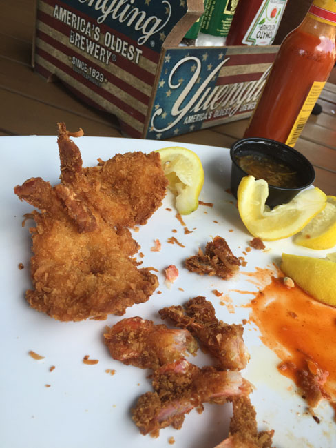 Coconut shrimp with lemon & Cholula - dinner at the beach, the fried fish I'd been craving all day